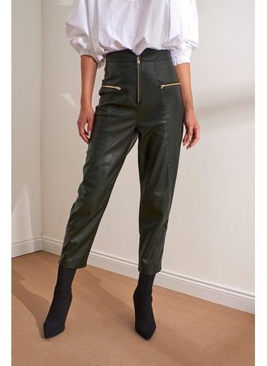 Setre Siyah Yüksek Bel Fermuarlı Deri Pantolon Haki